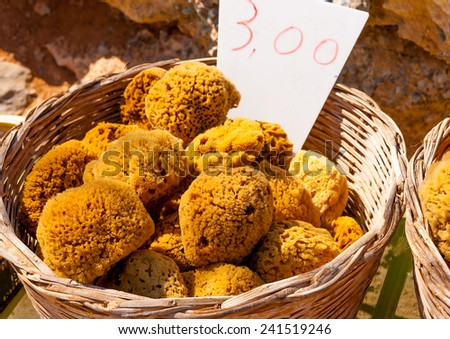 sponges exposed at the  local market of Pserimos island in Greece - stock photo