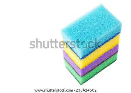 sponges for dishwashing isolated - stock photo