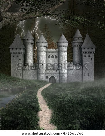 Spooky castle in a foggy forest - 3D illustration