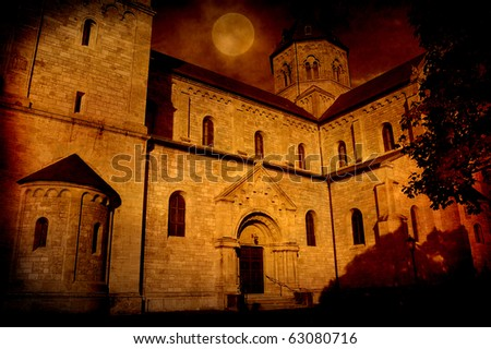 Spooky Castle on Halloween Night - stock photo