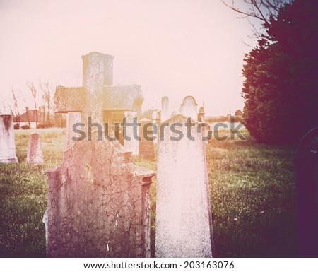 Spooky cemetery - stock photo