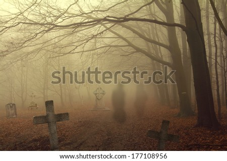 spooky cemetery in forest - stock photo
