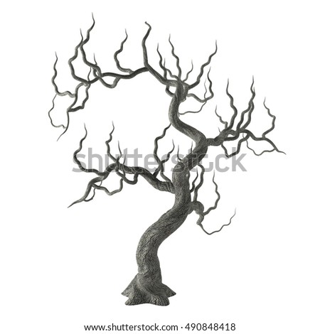 Spooky Gnarled Halloween Tree Long Bare Stock Illustration ...