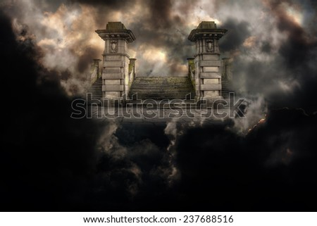 Spooky grand entrance to heaven or hell - stock photo