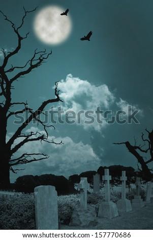 Spooky Graveyard - stock photo