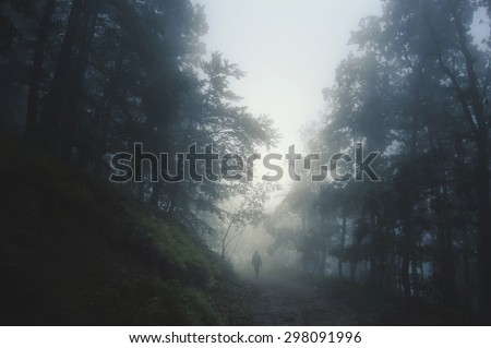spooky Halloween landscape with man on path in dark forest at night - stock photo
