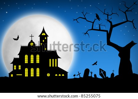 Spooky Halloween night. Tree on cemetery and haunted house against big moon