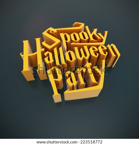 Spooky Halloween Party pumpkin orange letters 3d for poster template or Ad element on blue background with deep of field - stock photo