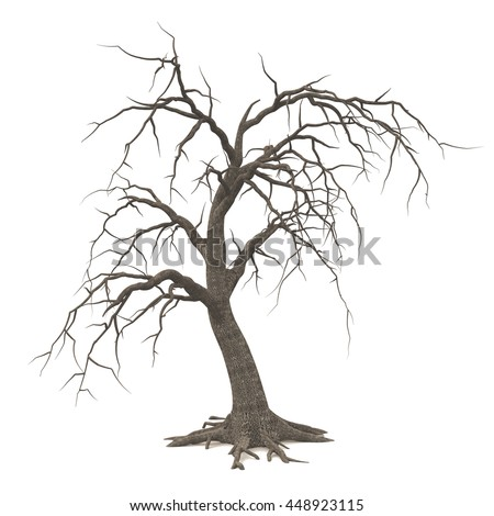 spooky halloween tree long roots bare stock illustration 448923115