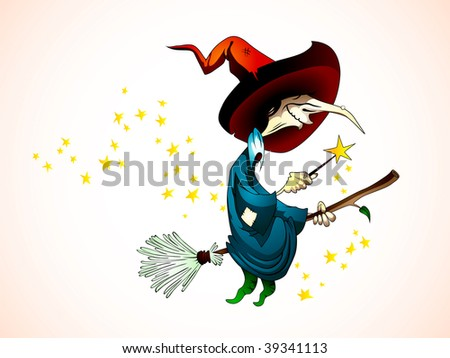 Spooky Halloween Witch holding a Magic Wand, Flying on a Broom - Detailed Illustration