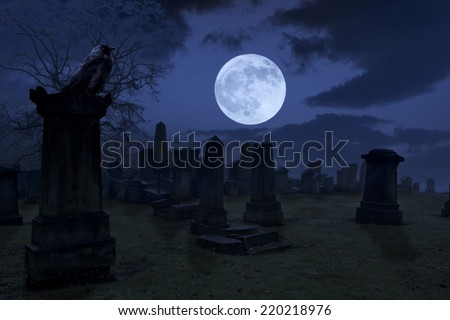 Spooky night at cemetery with old gravestones, full moon and black raven. Horrible Halloween night photograph - stock photo