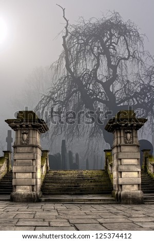 Spooky old cemetery on a foggy day - stock photo