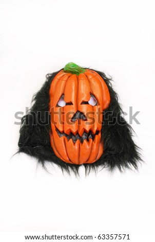 Spooky pumpkin mask  on white background