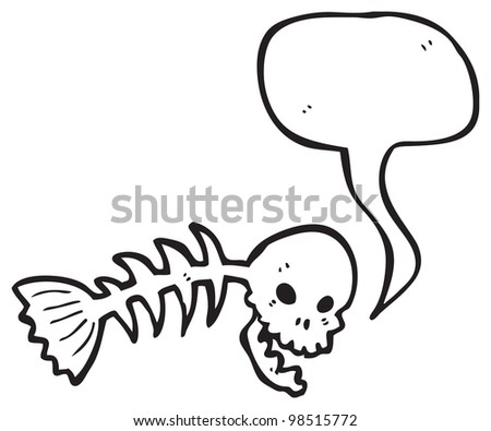 spooky skull fish bones cartoon