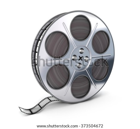 Spool and film on white background (done in 3d)