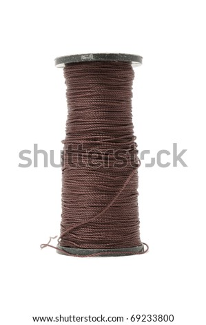 Spool of Capron Shoe Thread Isolated on White Background - stock photo