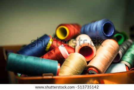Spools of colorful silk thread