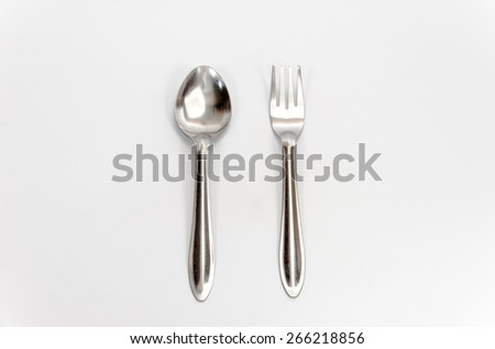 spoon and fork on white