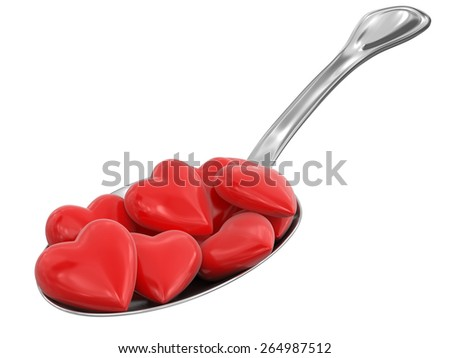 Spoon and Hearts - stock photo
