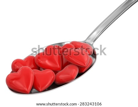 Spoon and Hearts (clipping path included) - stock photo