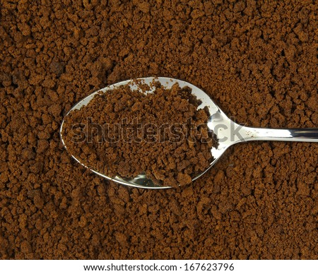 spoon and instant coffee - stock photo