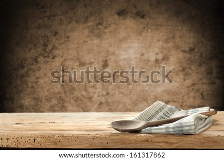 spoon and napkin in kitchen  - stock photo