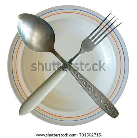 Spoon Fork Plate Crossed Isolated. Stylish tableware on white background.  sc 1 st  Shutterstock & Spoon Fork Plate Crossed Isolated Stylish Stock Photo (Download Now ...