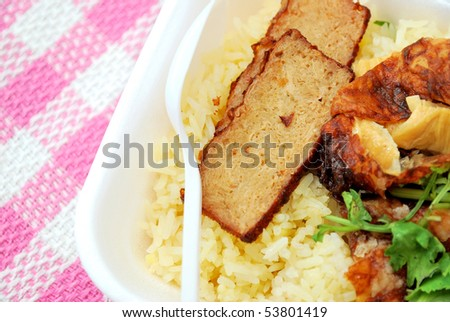 Spoon on delicious roasted pork rice. Suitable for concepts such as diet and nutrition, healthy eating and healthy lifestyle, and food and beverage.