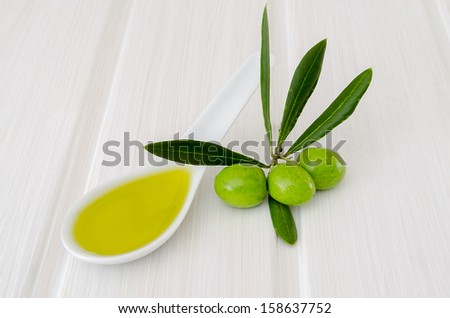 spoon with olive oil and fresh olives isolated on white table