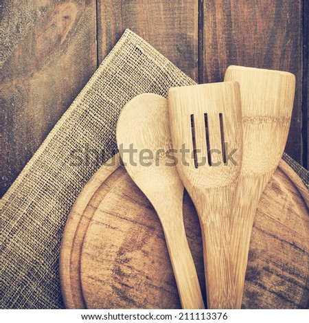 Spoons on the wood table - stock photo