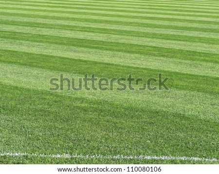 Sport abstract: Outfield in major league baseball stadium, with foul line chalked in foreground - stock photo