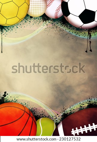Sport advert poster or flyer background with empty space - stock photo