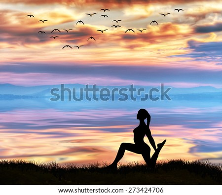 sport and meditation in nature - stock photo