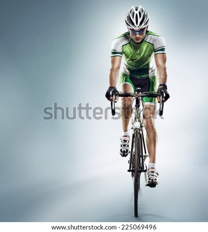 Sport. Athlete cyclists in silhouettes on white background - stock photo