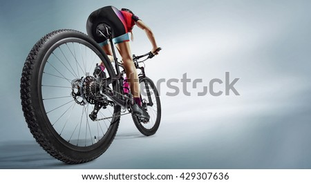 Sport. Athlete cyclists in silhouettes on white background. Isolated - stock photo