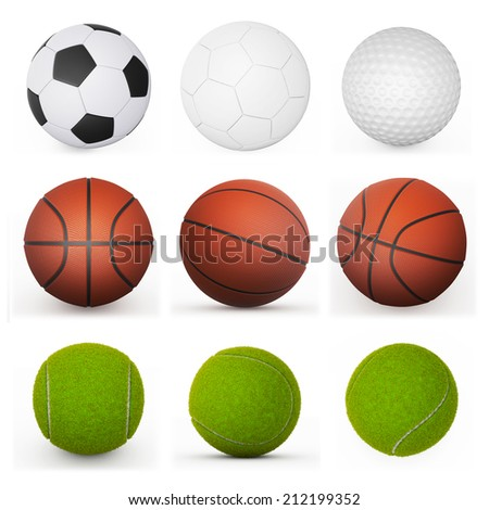 sport balls collection - stock photo