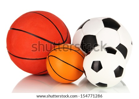 Sport balls, isolated on white - stock photo