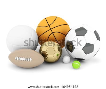 sport balls isolated on white background - stock photo