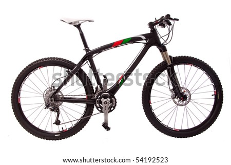 sport black bicycle isolated - stock photo