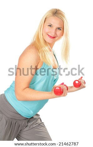 Sport blond  with dumbbells - stock photo