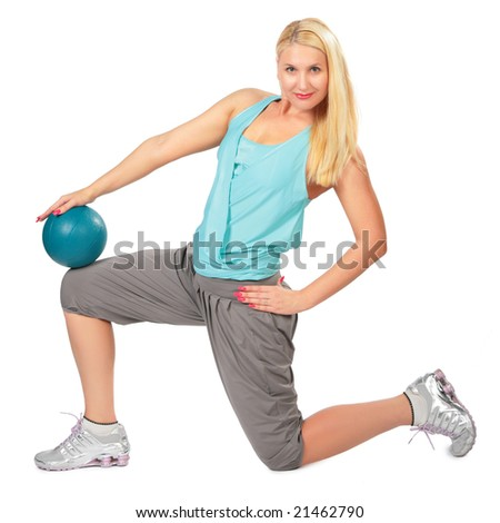 Sport blonde woman with ball - stock photo