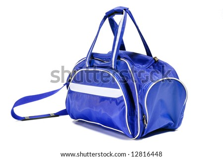 Sport blue bag. Isolated on white. - stock photo