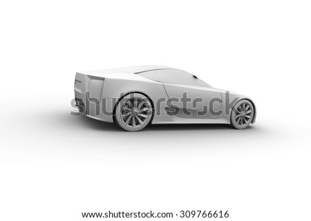Sport car 3d model. Clay render.