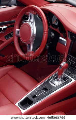 sport car red leather interior