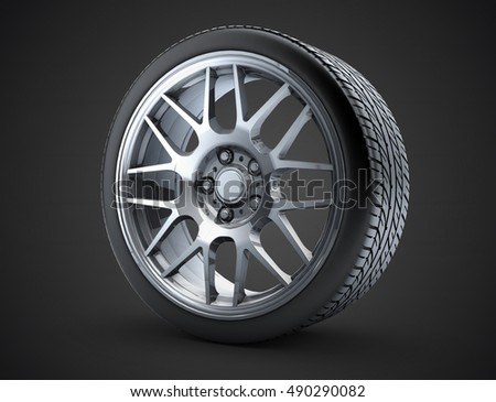 Sport car wheel. A single car tire or tyre. On a black background. 3d render illustration high resolution
