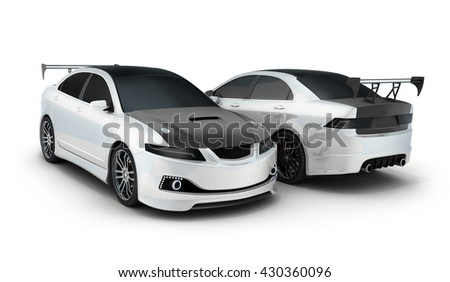 Sport car white and black (done in 3d rendering)
