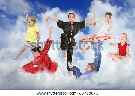 sport children on white clouds collage - stock photo