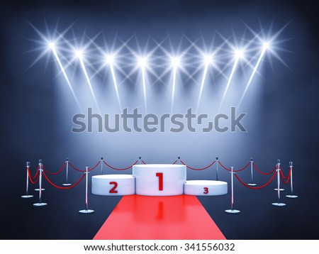 Sport competition event podium , red carpet and spotlights , Winner's podium , Award ceremony
