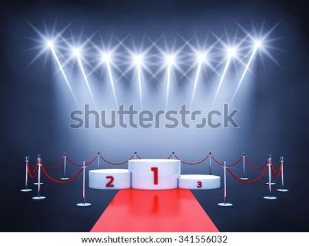 Sport competition event podium , red carpet and spotlights , Winner's podium , Award ceremony - stock photo