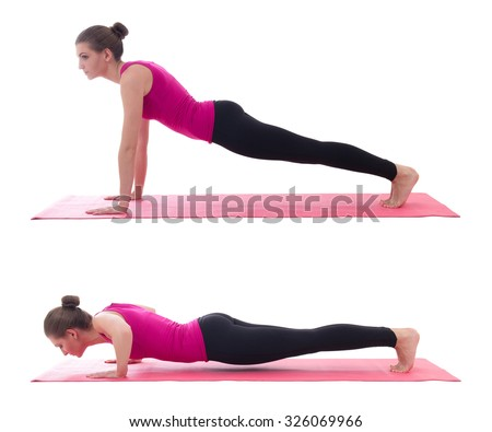 sport concept, push up instruction -  beautiful woman doing push up exercise on yoga mat isolated on white background - stock photo